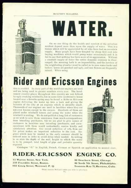 Very Nice Rider and Ericsson Engines for Water (1902)