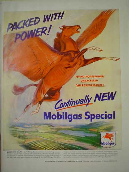 Packed with Power Mobil Gas Mobilgas Flying Horse (1950)
