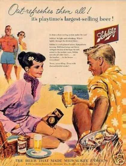 "Schlitz Beer Ad ""Out-refreshes Them All... (1956)"
