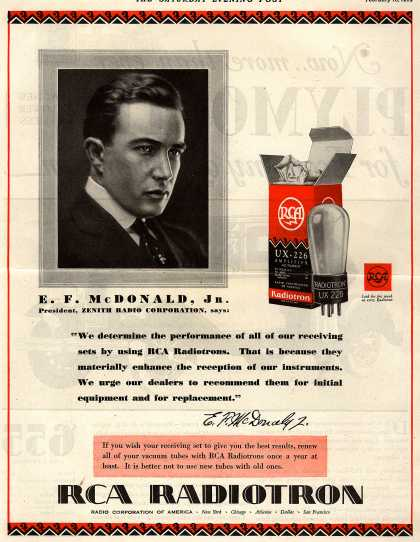 "Radio Corporation of America's Radio Tubes – ""We determine the performance of all of our receiving sets by using RCA Radiotrons. That is because they materially enhance the reception of our inst (1929)"