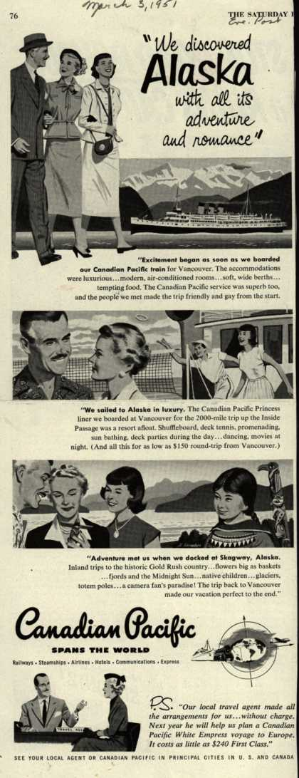"Canadian Pacific's Alaska – ""We discovered Alaska with all its adventure and romance"" (1951)"