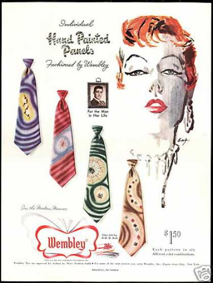 Pretty Redhead Woman Mens Wembley Tie (1950)