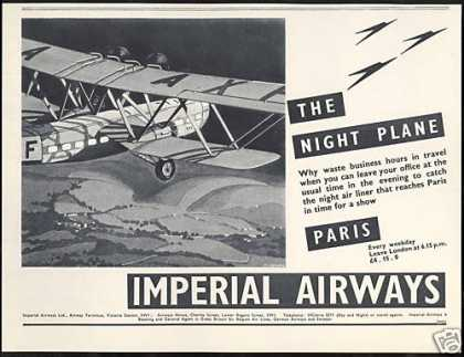 Imperial Airways Night Plane UK to Paris (1936)