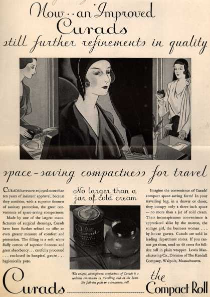Lewis Manufacturing Company's Curads Sanitary Napkins – Now... an Improved Curads still further refinements in quality (1930)