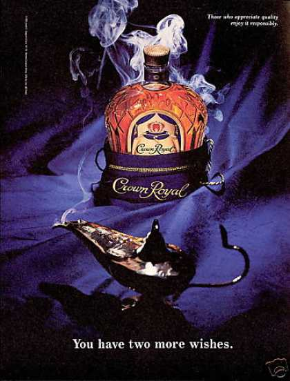 Crown Royal Scotch Bottle Genie Aladdin Lamp (1994)