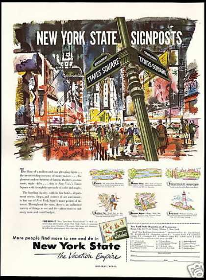New York State Travel Times Square Art (1953)