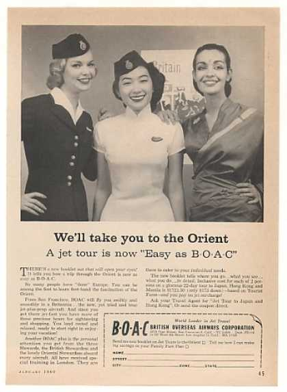 BOAC British Airways Orient Stewardesses Photo (1960)