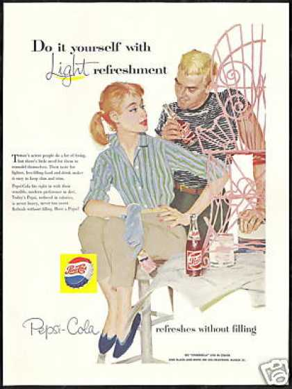 Pepsi Cola Couple Painting Chair Pink Vintage (1957)