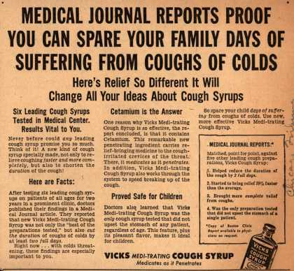 Vick Chemical Co.'s Vicks Medi-trating Cough Syrup – Medical Journal Reports Proof You Can Spare Your Family Days Of Suffering From Coughs Of Colds (1954)