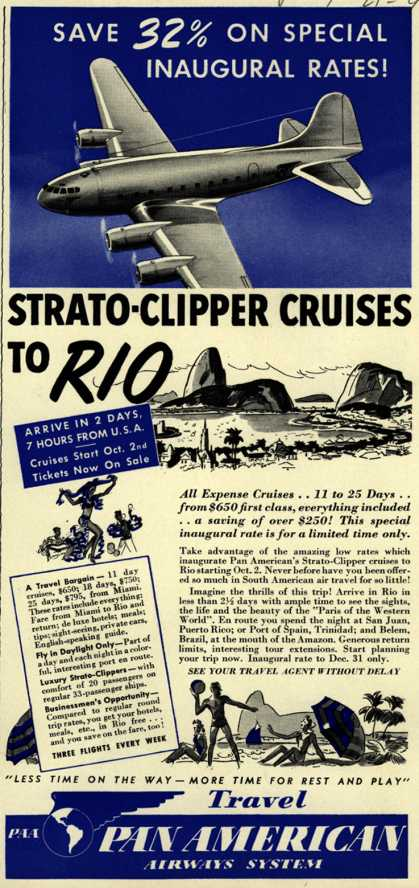 Pan American Airways System's Rio – Save 32% On Special Inaugural Rates (1940)