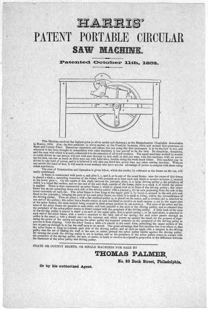Harris&#8217; patent portable circular saw machine. Patented October 11th, 1853 ... State or County rights, or single machines for sale by Thomas Palmer. No (1853)