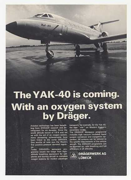 Yak-40 Aircraft Drager Oxygen System Photo (1972)