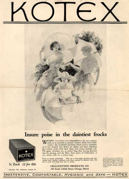 Cellucotton Products Company's Sanitary Napkins – Kotex: Insure poise in the daintiest frocks (1921)