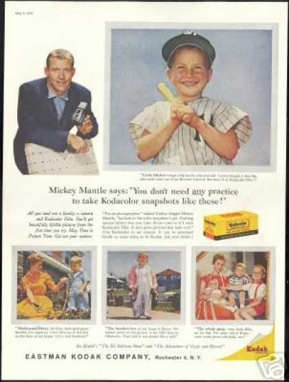 Mickey Mantle Family Photo Vintage Kodak (1959)