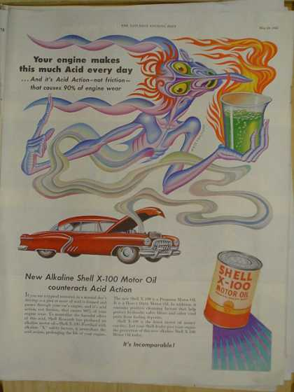 Shell X-100 Motor Oil. Engine makes this much acid every day (1952)