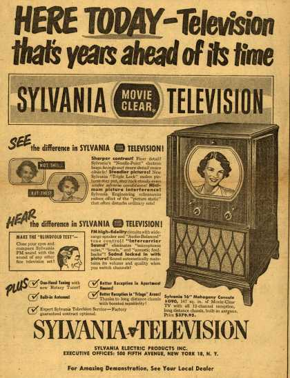 Sylvania Electric Product's Sylvania 16'' TV – Here Today – Television that's years ahead of its time: Sylvania Movie Clear Television (1950)