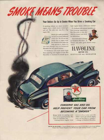 Havoline Car Motor Oil Texaco (1941)