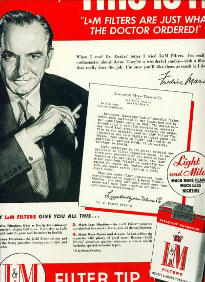 L & M Cigarettes With Actor Frederic March C (1958)