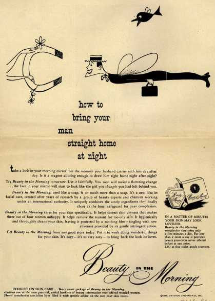 Universal Laboratorie's Beauty in the Morning Facial Cleanser – how to bring your man straight home at night (1948)
