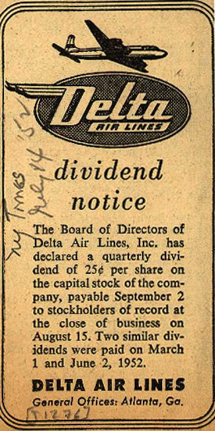 Delta Airline's stock dividend notice – Delta Air Lines dividend notice (1952)