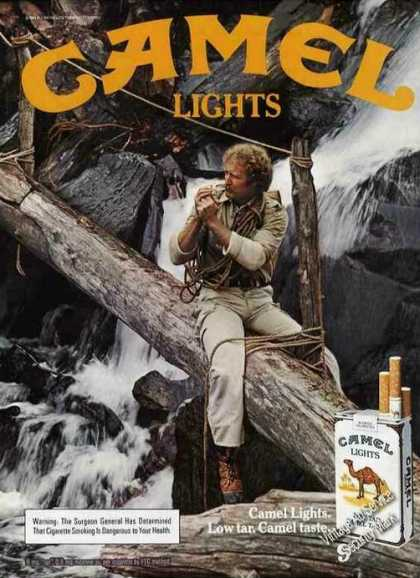 Camel Lights Man On Log Over Waterfall (1983)