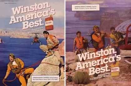 Winston Cigarettes Ads – Rock Climbers Set of 2 (1985)