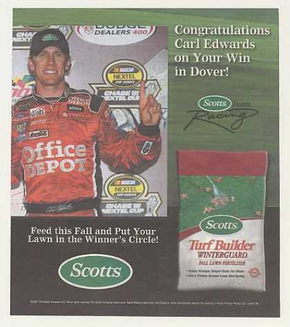 NASCAR Carl Edwards Dover DE Win Scotts Turf (2007)