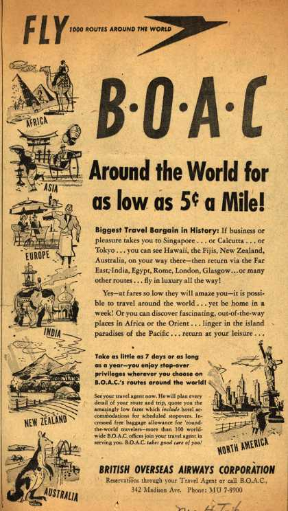 British Overseas Airways Corporation's Long Distance Trips – FLY BOAC Around the World for as low as 5 cents a Mile (1951)