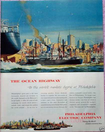 Philadelphia Electric Co Ocean Highway Boat Ships (1952)