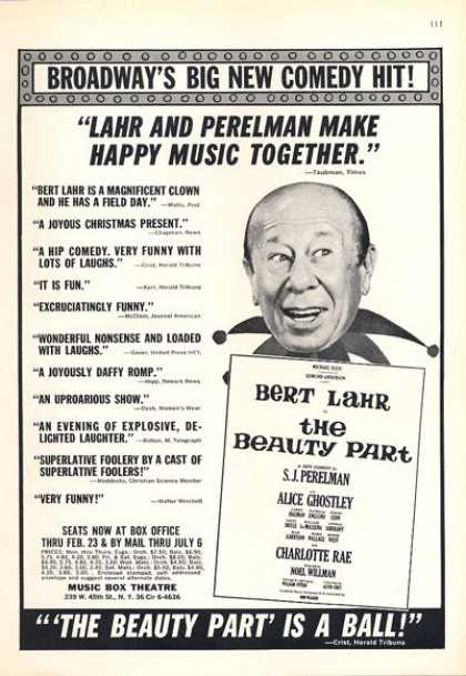 Music Box Theatre 'the Beauty Part' Bert Lahr (1963)