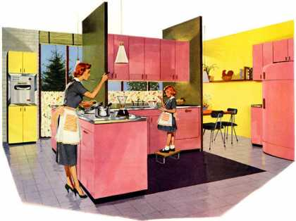 What Belongs in a Beautiful Kitchen? YOU and Steel! Design: John and Earline Brice Jones & Laughlin Steel (1955)