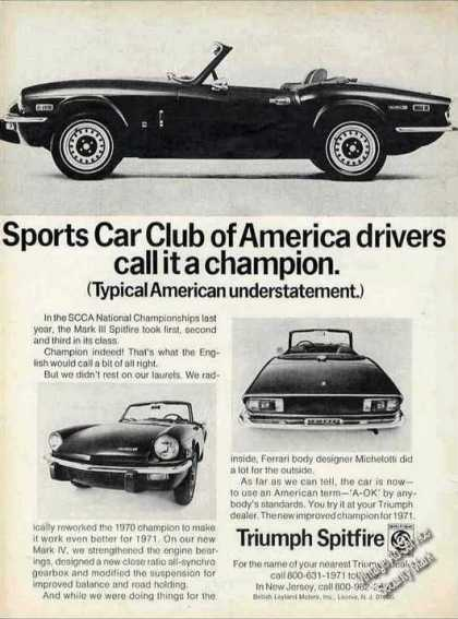 "Triumph Spitfire ""Drivers Call It a Champion"" (1971)"