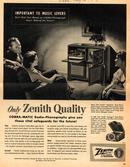 Zenith Radio Corporation's Radio-Phonograph Consoles – Only Zenith Quality Cobra-Matic Radio-Phonographs give you these vital safeguards for the future (1951)