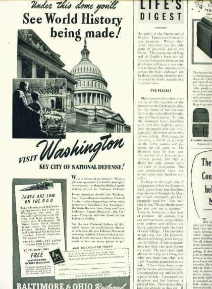 Baltimore & Ohio Railroad 1/2 Page Ad Washington (1941)