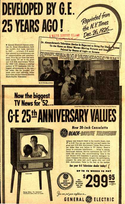 General Electric Company's Television – World's First Home Television Developed By G.E. 25 Years Ago (1952)