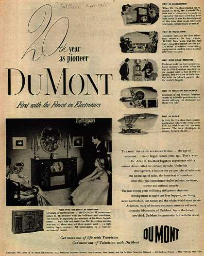 Allen B. DuMont Laboratorie's Television – 20th year as pioneer Du Mont First with the Finest in Electronics (1951)