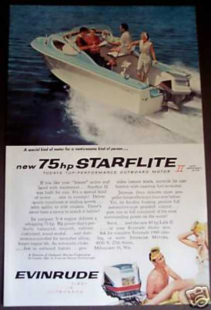 Evinrude 75hp Starflite Outboard Motor Photo (1959)