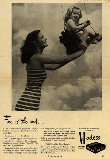 Modes's Sanitary Napkins – Free as the wind... (1944)