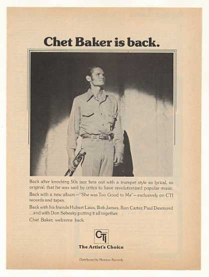 Chet Baker She Was Too Good to Me CTI Photo (1975)
