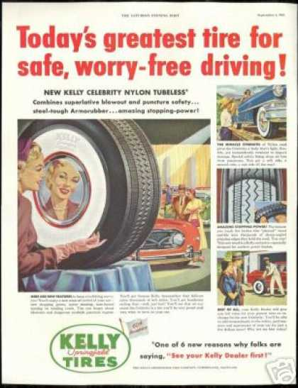 Kelly Springfield Tires Pretty Woman Reflection (1954)