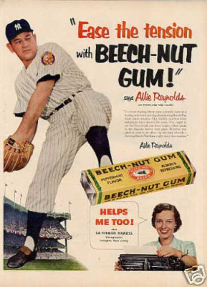 Beech-nut Gum Ad Allie Reynolds (1952)