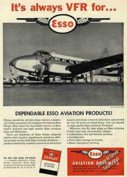 "De Haviland Dove Airplane Photo ""Vfr for Esso"" (1953)"