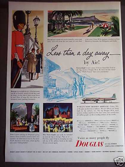 Douglas Dc-6 Airplane Travel By Air Vacation (1952)