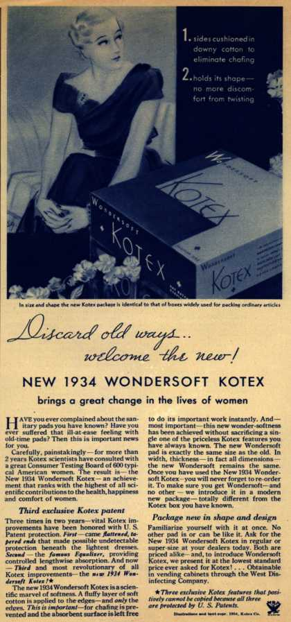 Kotex Company's Wondersoft Kotex – Discard old ways...welcome the new! New 1934 Wondersoft Kotex (1934)
