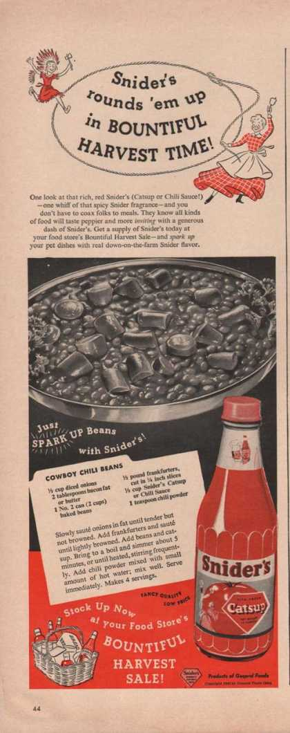 Sniders Catsup Cowboy Chili Beans (1949)