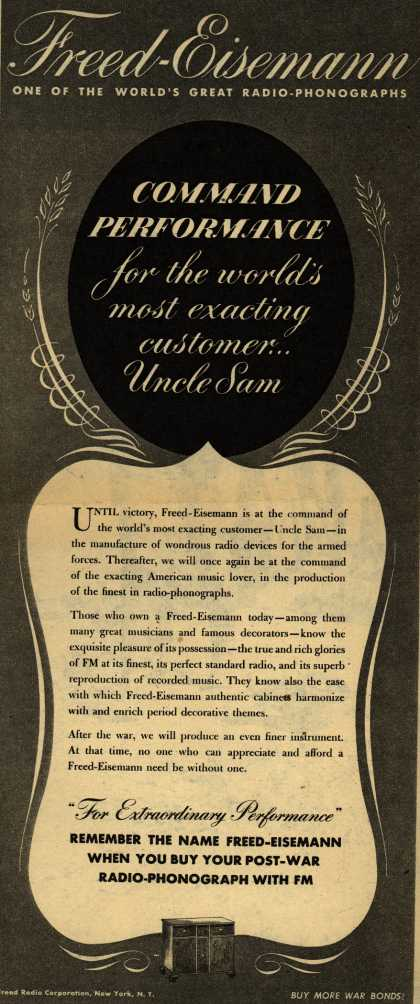 Freed-Eisemann's Radio – Command Performance: For the World's Most Exacting Customer... Uncle Sam (1944)