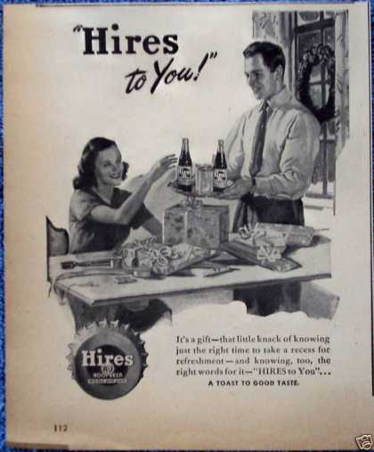 Hires Root Beer Christmas Gift Wrap Husband Wife (1946)