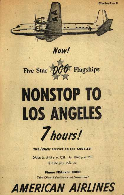 American Airline's Los Angeles – Nonstop to Los Angeles 7 hours (1947)