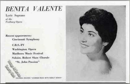 Benita Valente Photo Soprano Opera Trade (1962)
