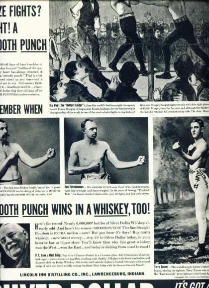 Silver Dollar Bourbon Whiskey C Ad Boxers (1938)